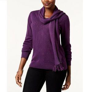 Karen Scott 1X Purple Embellished Sweater 11BR14